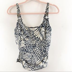 Maidenform Beach Tankini Top Ivory/Navy Sz 36D